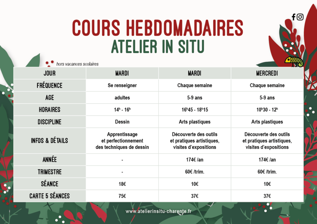 planning ateliers hebdomadaires
